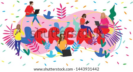 Vector business illustration of modern young pretty women  sitting on the letters with a laptops and books on floral tropical background. Web developers. Creative art designers. Creativity. Team work