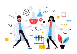 Vector business illustration of scientist people in white coat with lab service, team work in laboratory communication with flask, flat style