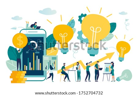 vector business illustration, office workers study infographics, evolution scale analysis, network promotion, search for new solutions ideas, team work in a company, brainstorming