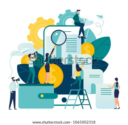 vector business illustration on white background. business porters - a successful team.Online payment or mining process,  web banners. online payment.payment by card, check issued from gadget
