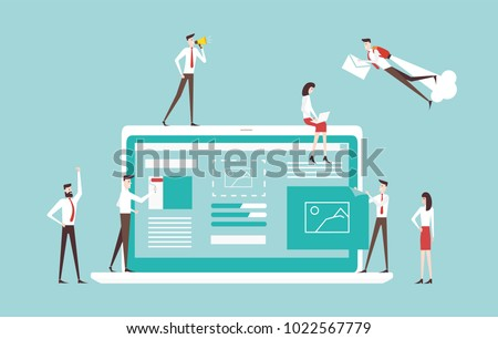 vector business illustration. small people download t business web portal on the Internet. build a start up project