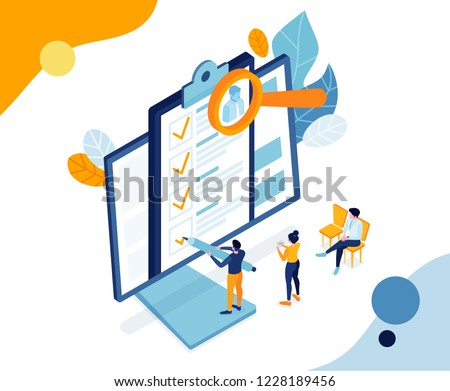 vector business illustration. small people fill out an application form for job. people take test exam. view and fill resume for job vacancy. trendy isometric graphic design paper Filling Photo stock ©