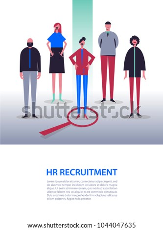 Vector business illustration, stylized characters. Recruitment, head hunting, job searching. Choosing one from others. Woman