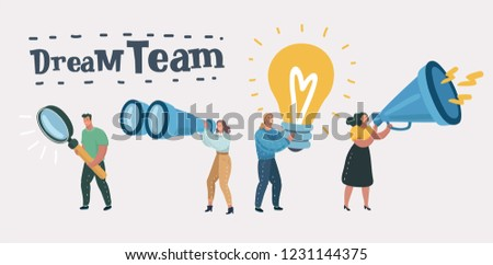 Vector business illustration ,success, dream team work. Different member in a creative group, researcher, creative, smm, marketing.
