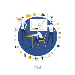 vector business illustration. teamwork of office employees decide to set a lot. around the working atmosphere there are icons