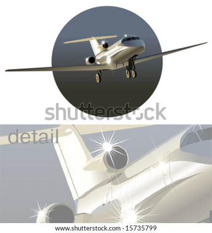 Vector business-jet airplane. No effects, only simple gradients. More airplanes see in my portfolio.