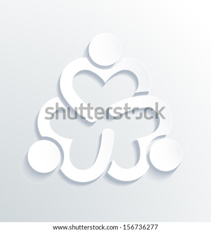 Vector Business label white icon design. Heart sharing 3.Group of People