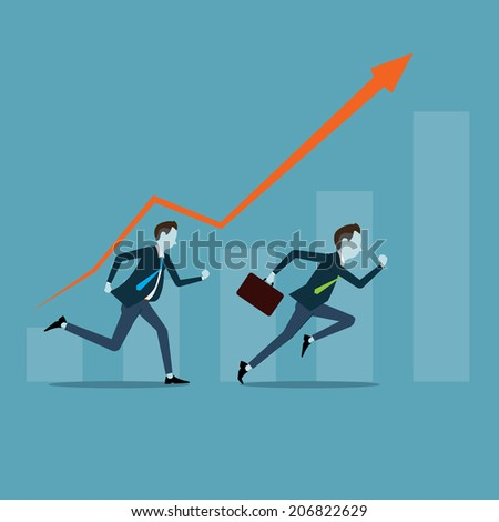 Vector business man competitive with business on target graph