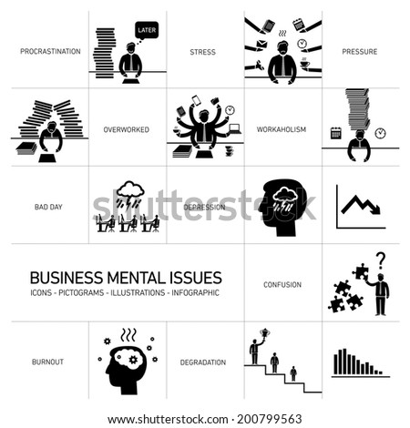 vector business mental issues icons set of depressed and stressed managers black modern flat design illustrations separated on white background