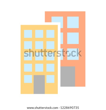 vector business office building. apartment skyscraper - real estate