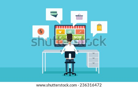 vector business on line shopping and e-marketing on cloud