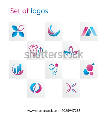 Vector business set of abstract, modern, eco logos in blue, pink colors in gradient. Collection of creative, geometric, unusual icons, symbols for corporate identity of company, branding.