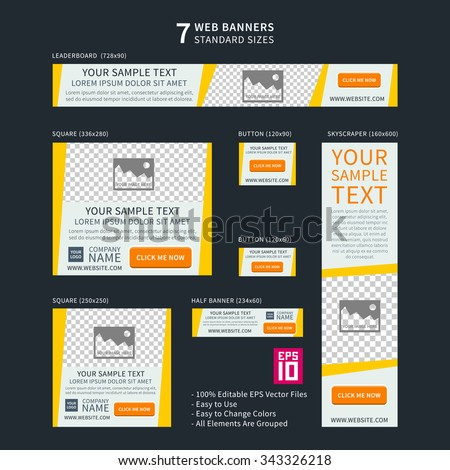 Vector business standard size Web Banners Set. Modern design concept for corporate website advertising.