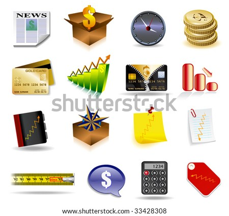 Vector business styled icons in detail