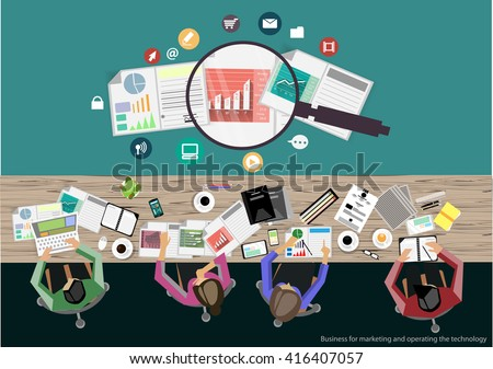 Vector businessman brainstorming. Flat design modern vector illustration concept of project management business analysis and planning.Concepts web banner and printed materials.
