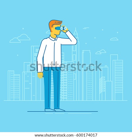 Vector businessman looking for future trends through binoculars - business and strategy metaphor - illustration in flat style