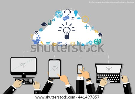 Vector Businessman with modern mobile communication technology, Tablet PC and Notebook task, leveraging business icon styles. Used for work flat design