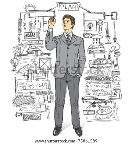 vector businessman writing something on glass board with marker - stock vector