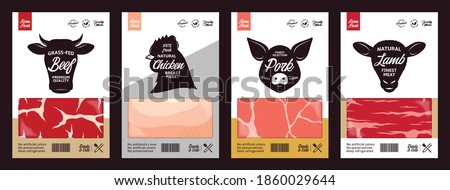 Vector butchery labels with farm animal faces. Cow, chicken, pig and sheep icons and meat textures for groceries, meat stores, packaging and advertising