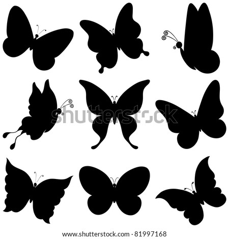 vector, butterflies, black silhouettes on white background