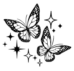 Vector butterfly outline silhouette black tattoo drawing illustration, bright shining stencil isolated stars.Two flying butterflies.Plotter laser cutting.T shirt print design.Vinyl wall sticker decal.