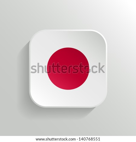 Vector Button - Japan Flag Icon on White Background