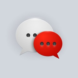 Vector button red and white speech bubbles icon with gray shadow on white background