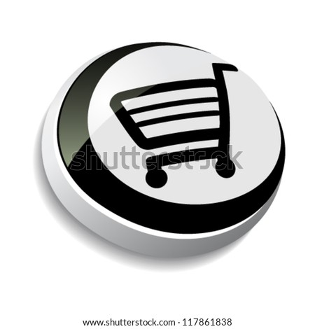 Vector button, shopping cart, trolley, item
