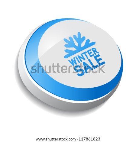 Vector button, Winter sale with snowflake
