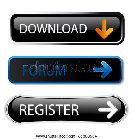 Vector buttons - download, forum, register - stock vector
