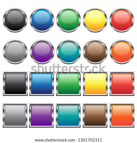 Vector buttons for web design. Colors.