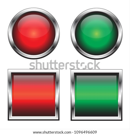 Vector buttons for web design. Red and green.