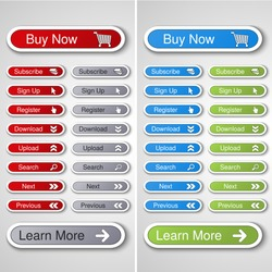 Vector buttons for website or app. Button - Buy now, Subscribe, Sign Up, Register, Download, Upload, Search, Next, Previous, Learn More