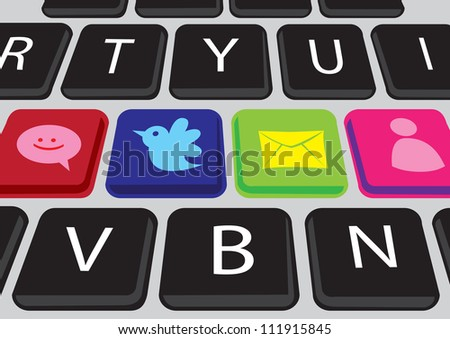 Vector buttons on a keyboard with Social media icons