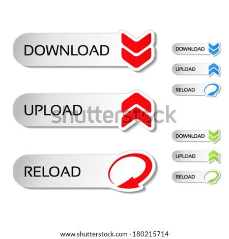 Vector buttons with arrow - download, reload, upload