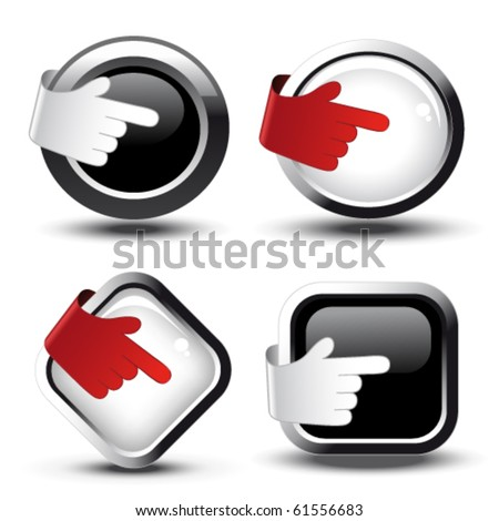 Vector buttons with curled hand