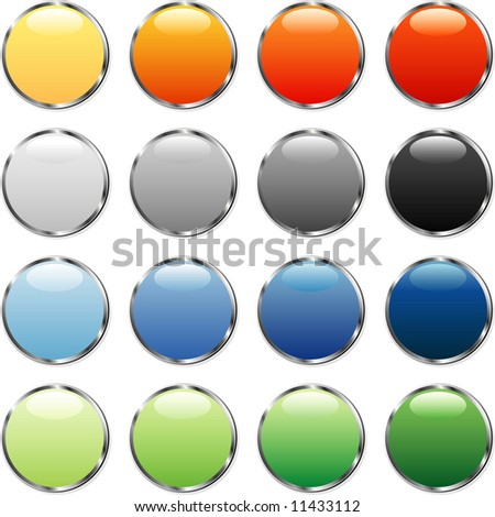 vector buttons with silver ring