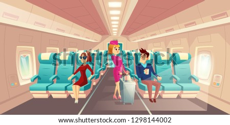 Vector cabin of plane with stewardess and passengers, mealtime in economy class. Woman, man on seats with blue chairs. Hostess with a food cart in the aisle of the salon. Comfortable journey, jet trip