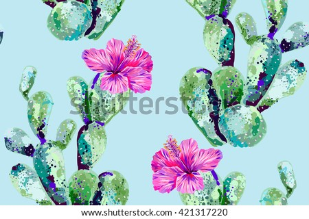 vector cactus  tropical flowers