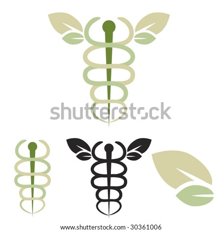 Vector caduceus with leaves symbolizing natural healing / medicine