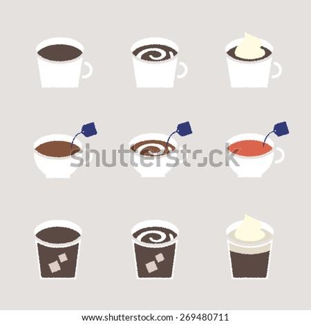 Vector Cafe drink Handwritten like Illustration Icon set
