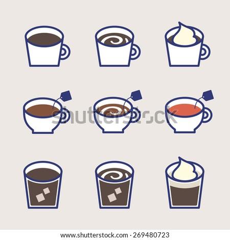 Vector Cafe drink Illustration Icon set