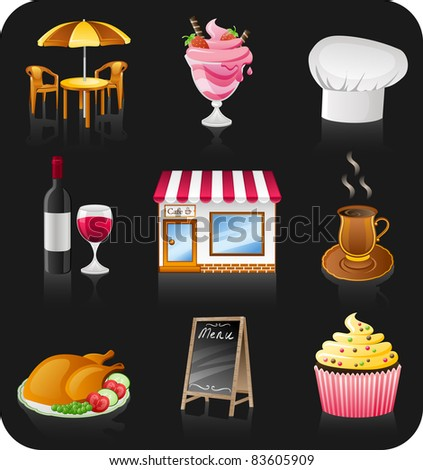 Vector cafe icon set isolated on black background.