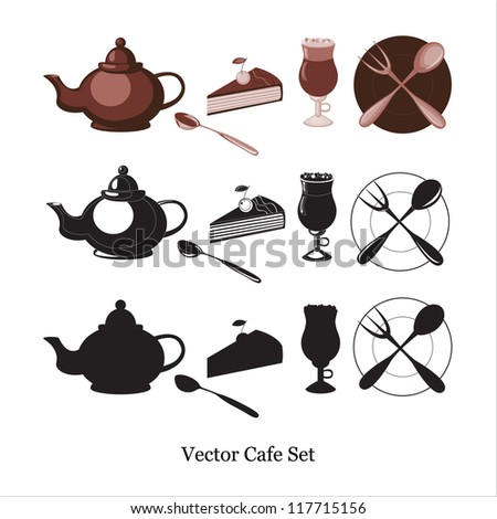 Vector cafe set including tea pot, spoon, cake with berry and chocolate, cappuccino coffee in special cup and plate with spoon and fork in different variants � brown, black and white, black silhouette