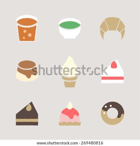 Vector Cafe Sweets Handwritten like Illustration Icon set
