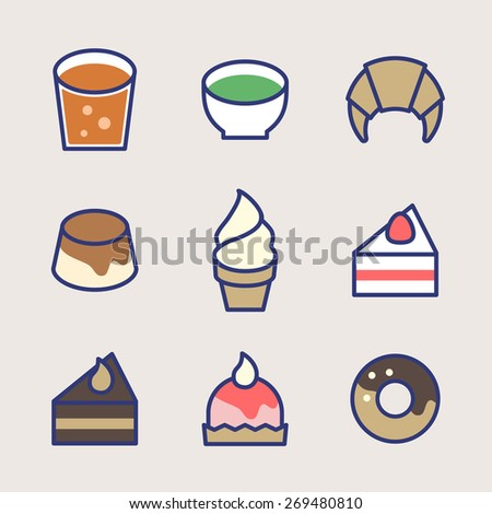 Vector Cafe Sweets Illustration Icon Set
