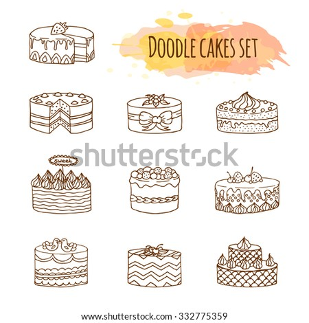 vector cake illustration set