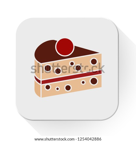vector cake slice icon flat