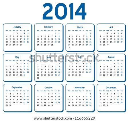 VECTOR   Calendar 2014   Stock Vector
