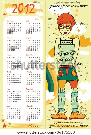 vector calendar and cute girl in glasses, shoes, teen clothes and trendy fashion vertical background for text with clouds, stars